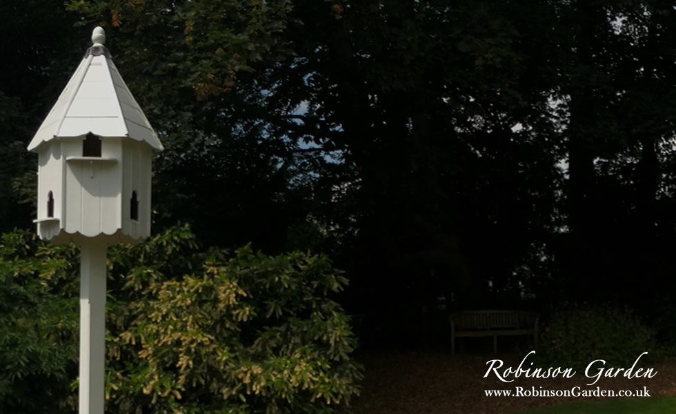 The Robinson Garden catalogue, displaying all of our bespoke garden products such as the Richmond seated arbour, dovecotes, bird tables, bird boxes, bird houses, wooden garden obelisks and more. Take a look at our catalogue on our website. Robinson Garden, bespoke garden products.